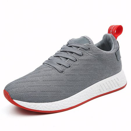 Men Knitted Fabric Line Pattern Shock Absorption Sole Casual Sneakers