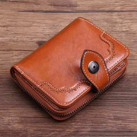 Women Vintage PU Leather Short Wallet Card Holders Purse