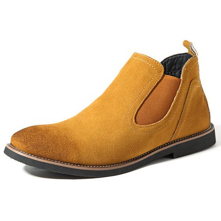 Men British Style Slip Resistant Slip On Casual Ankle Shoes