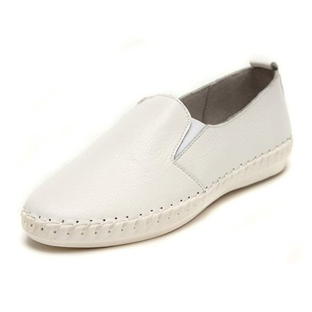 Casual Sewing Leather Flat Slip On Loafers