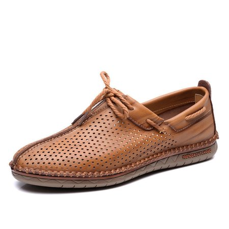 Men Hand Stitching Hole Breathable Soft Lace Up Outdoor Casual Leather Shoes