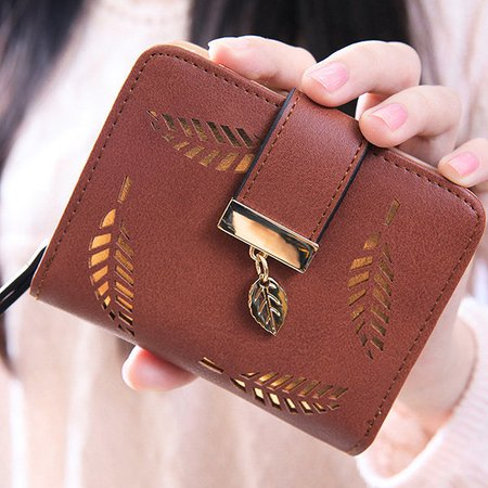 Women PU Leather Stylish Hollowed Gold Leaves Decoration Wallet Purse