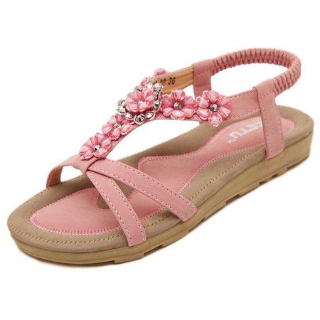 Bohemia Flower Peep Toe Flat Slip On Beach Sandals
