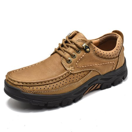 Men Breathable Cow Leather Wear-resistant Shoes