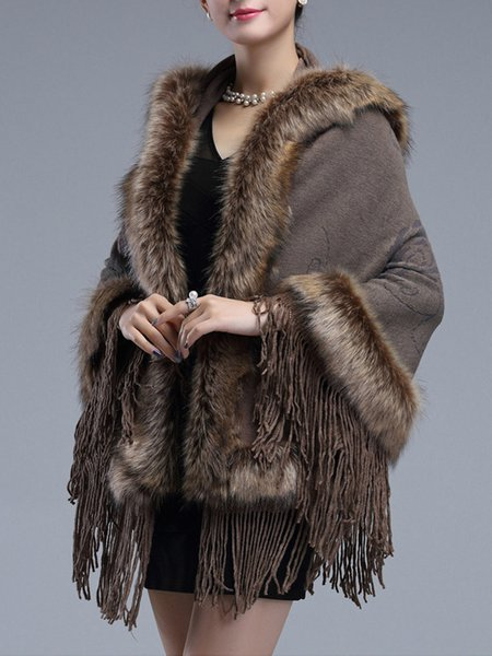 Faux Fur Hooded Collar Tassels Cape Coat - JustFashionNow.com