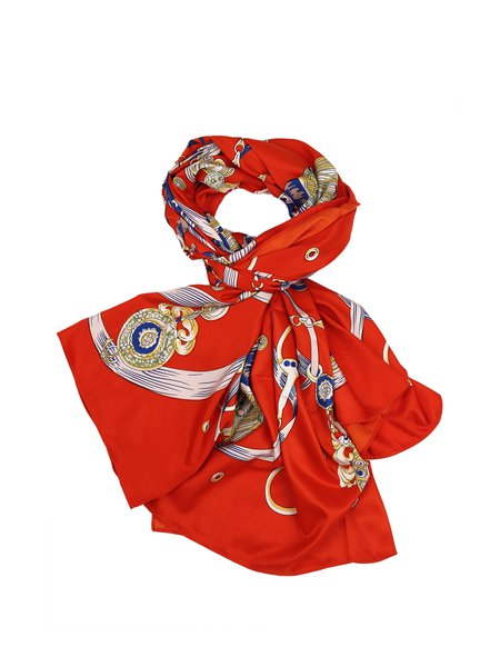 Orange Casual Silk Scarf