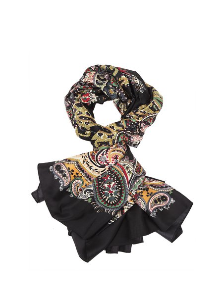 Black Casual Silk Scarf