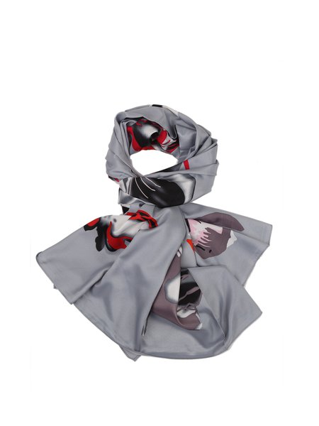 Gray Floral Silk Scarf