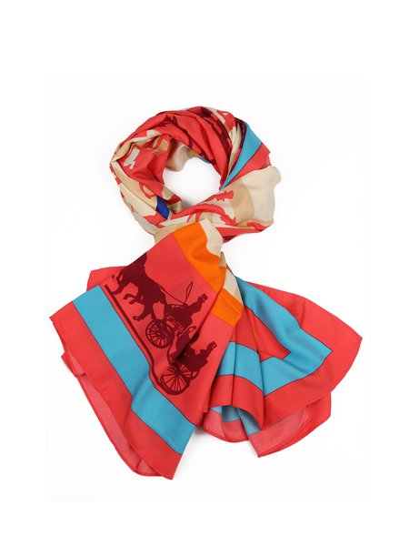 Red Silk Abstract Scarf