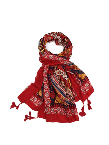 Red Cotton Vintage Tribal Scarf