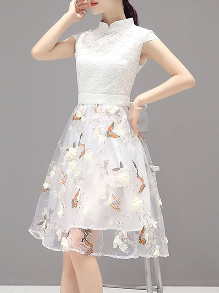 White Women Elegant Dress Stand Collar A-line Daily Short Sleeve Guipure Dress