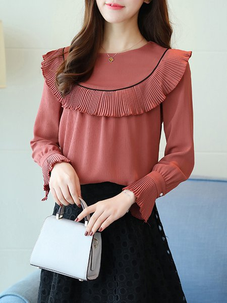 Rust H-line Crew Neck Piping Long Sleeve Blouse