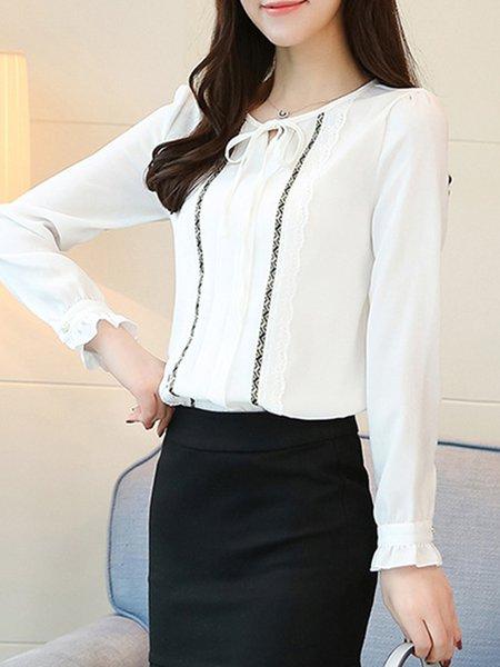 plus size paneled frill sleeve bow tie blouse - justfashionnow