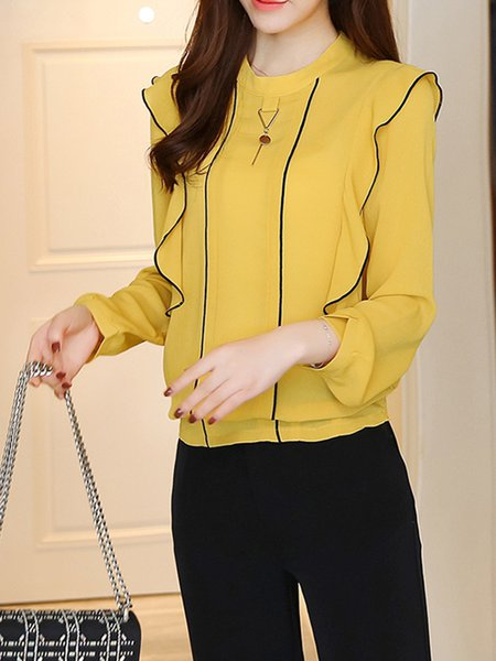 Yellow Ruffled Elegant Chiffon  Blouse