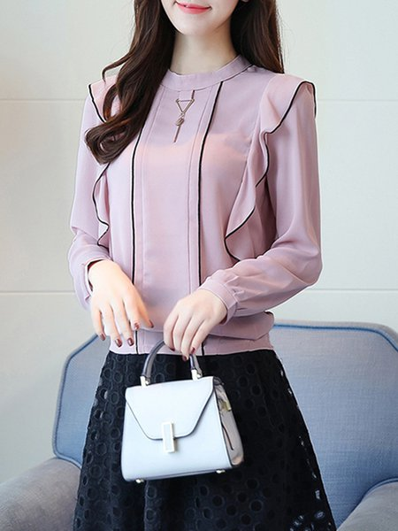 Pink Piping Stand Collar Long Sleeve  Blouse