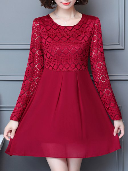 Red A-line Paneled Long Sleeve Geometric  Casual Dress