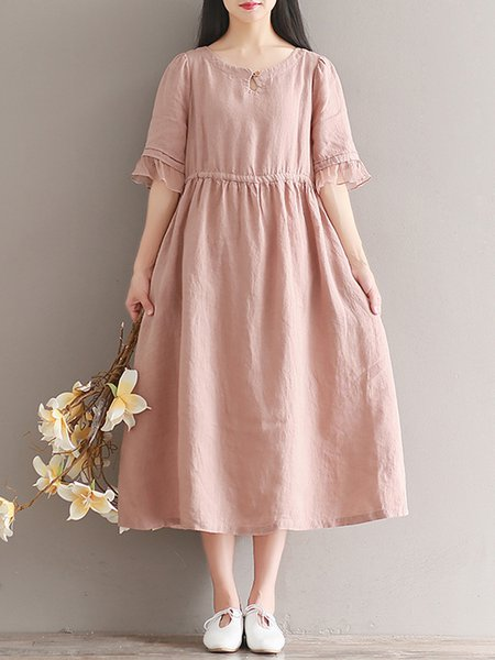 Simple Frill Sleeve Patchwork Buttoned Dress