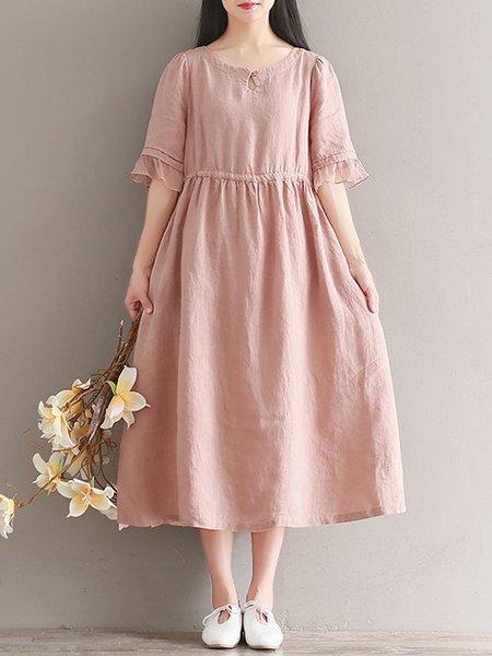 Pink Women Casual Dress Keyhole A-line Casual Cotton Dress