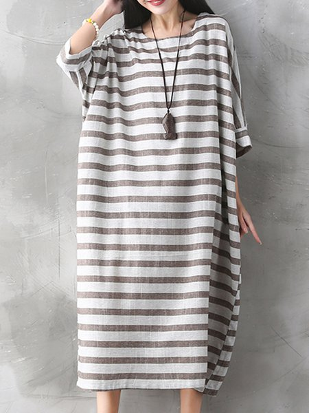 Stripes 3/4 Sleeve Casual Cocoon Dress