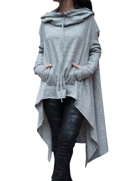 High Low Drawstring Solid Pockets Long Sleeve Hoodie