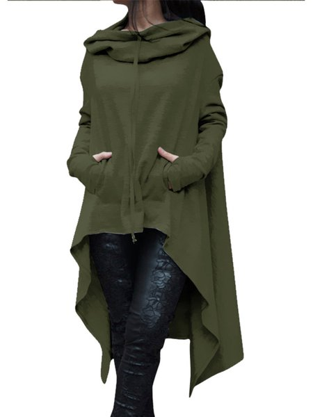 Army Green Pockets High Low Solid Long Sleeve Hoodie