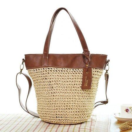 Women Weaving Bucket Bag Beach Casual Crossbody Bag