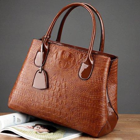 Women Elegant Crocodile High-End Vintage PU Leather Handbag