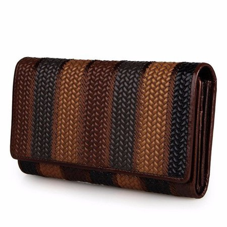 Retro Genuine Leather Stripe Pattern Multi-slots Wallet Card Holder Coin Bags