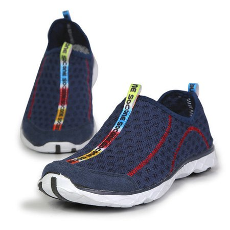 Big Size Mesh Color Match Breathable Slip On Flat Sport Shoes