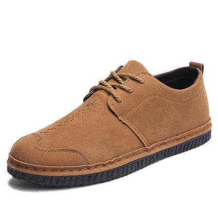 Men Stitching Flat Slip On Lace Up Casual Oxfords