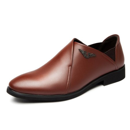 Men Classic Pointed Toe Portable Slip On Breathable Dress Shoes