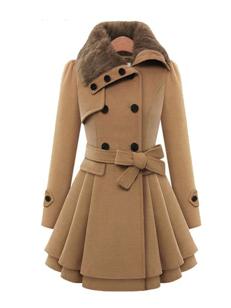 Women's Coat Solid Color Fur Patchwork Warm Fleece Lined Pea Coat