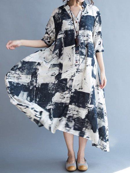 Multicolor V-Neck Half Sleeve Vintage Dress