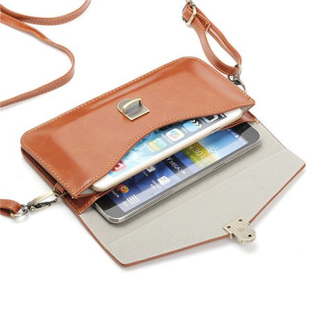Women PU Leather 6.3 Inch Retro Phone Bags Mini Crossbody Purse