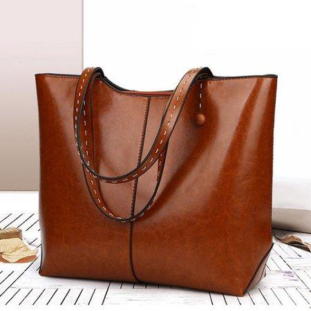 Women Elegant Oil Leather Tote Bag Retro Crossbody Bag