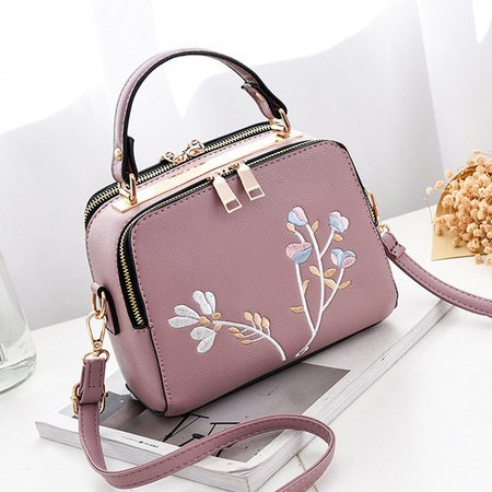 Women Elegant Floral Embroidery Retro Small Tote Crossbody Bag