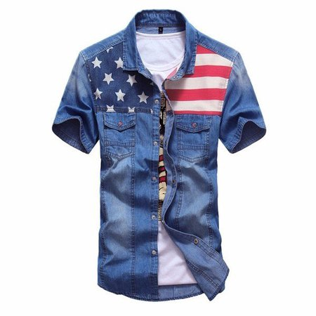 Mens Spring Summer Patchwork Denim Shirts Front Pockets Casual Cotton Shirts