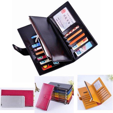 Women Men Three Fold  Multi-Card Holder PU Phone Purse Wallet