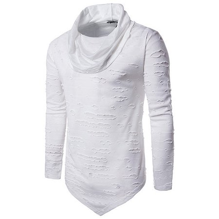 Casual Solid Long Sleeve Asymmetric Turtleneck Ripped T-shirt