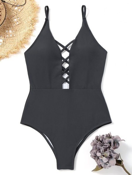 Black Crisscross Strappy Plunge Neck Solid One-piece
