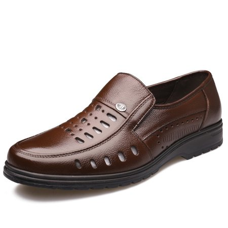 Men Hollow Out Breathable Slip On Leather Shoes