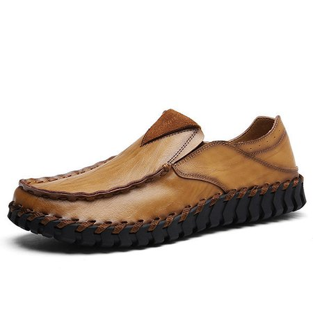 Men Hand Stitching Faux Leather Soft Slip On Casual Loafers