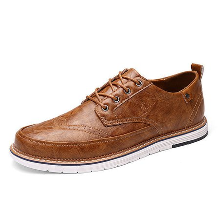 Men's British Style Brogue Carved Flat Lace Up Casual Oxfords