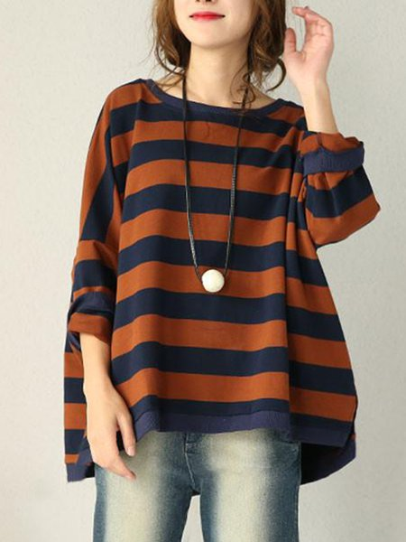Brown Casual Cotton Stripes Color-block Top
