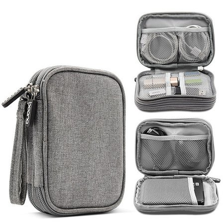 Unisex Double Layer Travel Digital Electronic Accessories Flash Drive Storage Bag