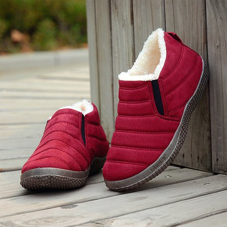 Stripe Fur Lining Casual Boots For Women