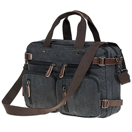 Multi Use Canvas Crossbody Bag Multi Pocket Solid Backpack Handbag For Men