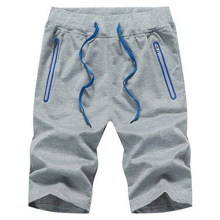 Drawstring Solid Sports Polyester Shorts