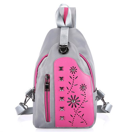 Women Rivet Hollow Decoration Nylon Crossbody Bag Waterproof Chest Pack