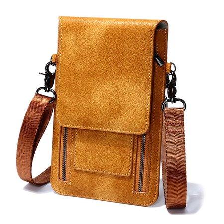 Retro Genuine Leather Card Holder 6 inch Phone Purse Crossbody Bags